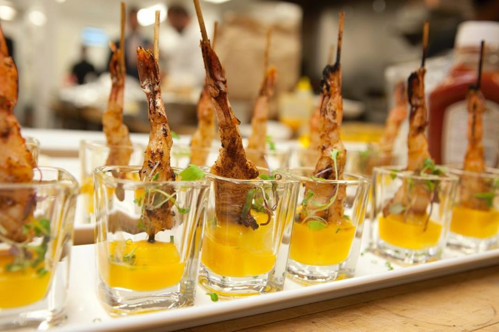 BBQ Cajun Shrimp with Mango Coulis by Seventh Heaven Event Catering