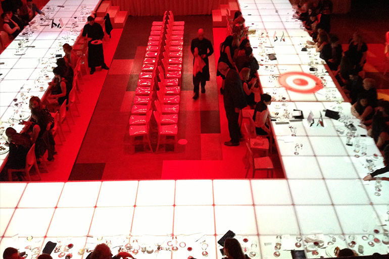 4th Annual Target Toronto Fashion Incubator Fashion Show Projection mapping onto runway/dining room table by Westbury Photo credit: Rob Sandolowich from Westbury National