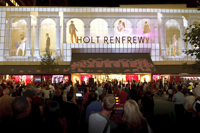 Holt Renfrew 175th Anniversary Street Party 3D projection mapping by Westbury National