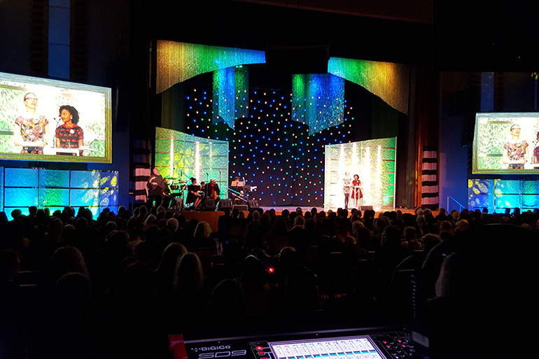 Lighting on string curtains, fibre optic curtains, gobos on side walls for an awards gala. Different lighting colours used to change look between awards Freeman audio visual