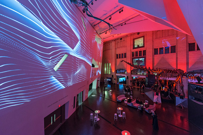 Sound reactive visuals (projection that reacts to music) created by Moment Factory.